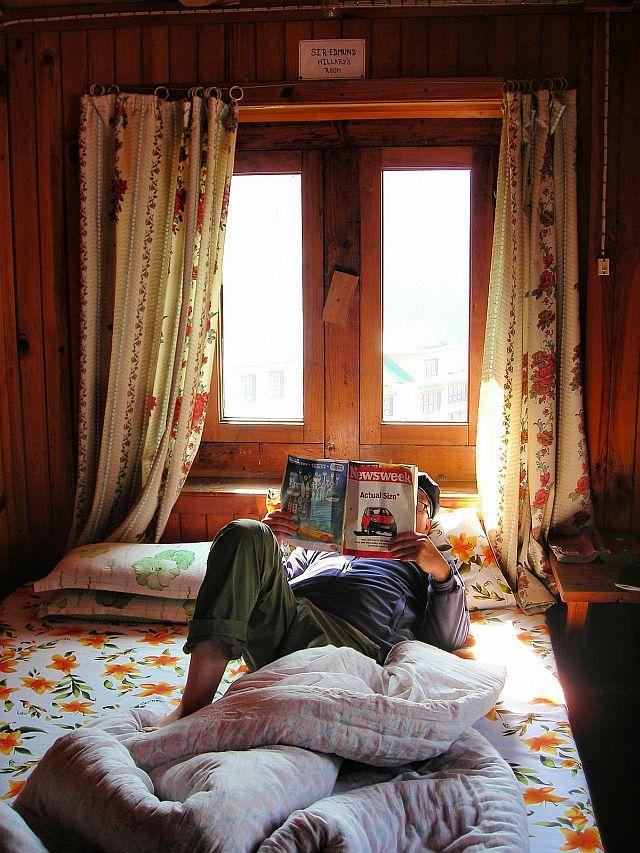 Me reading in Ed Hillarys room in Junbesi a village on the Everest trek