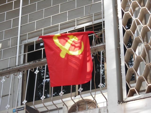 communist flag seen in Laos capital Vientiane