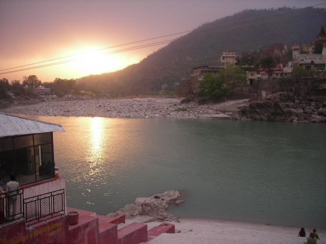 sunset in Rishikesh over the Ganga from the roof of my Ashram