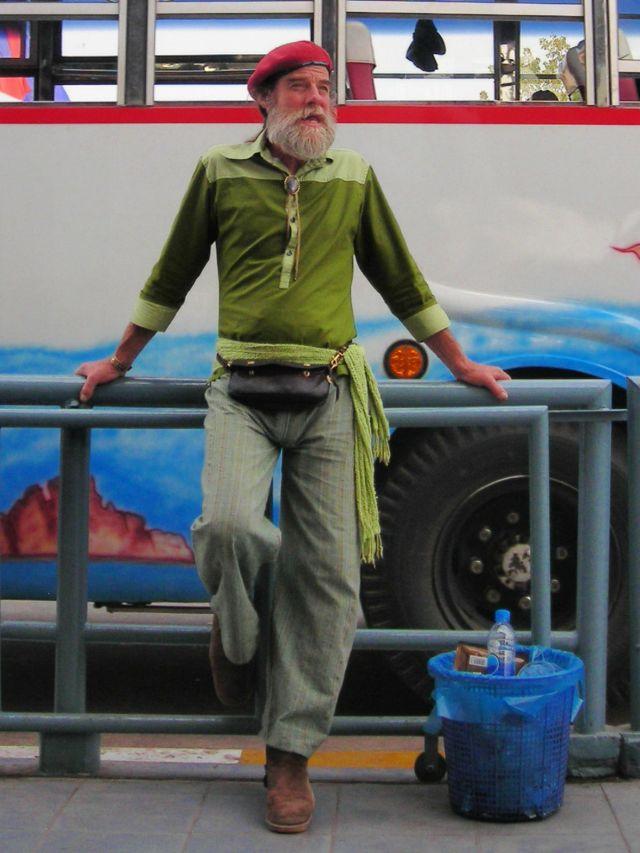 elder hobo likes fashion, seen on Lao - Thai border